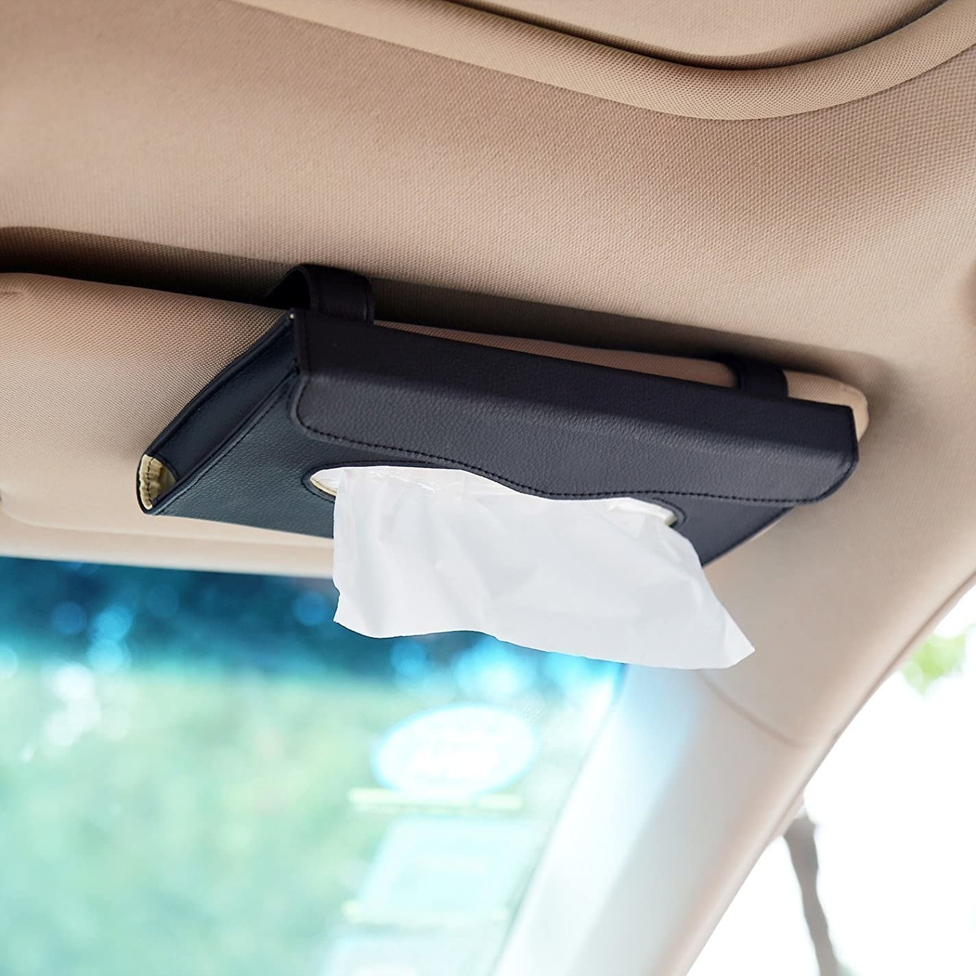 The car tissue box hung on the visor