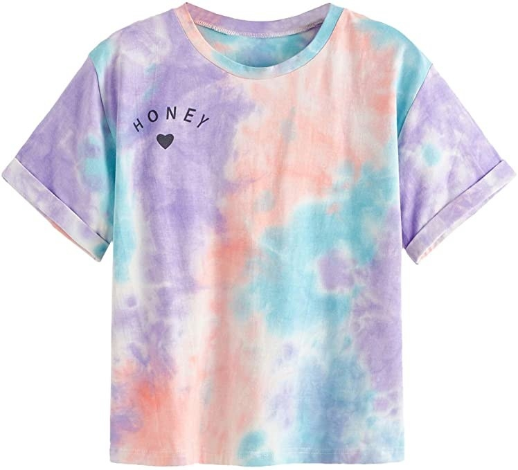 """the tie-dye T-shirt with """"HONEY"""" and a heart design on the breast"""