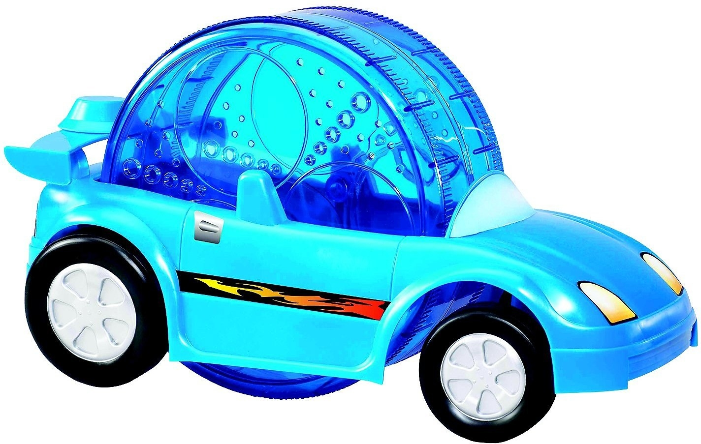 A toy car with a hamster wheel placed inside of it