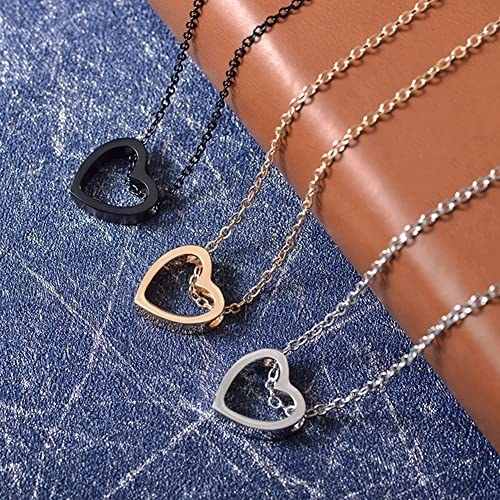 three versions of the necklace in a black, gold, and silver finish