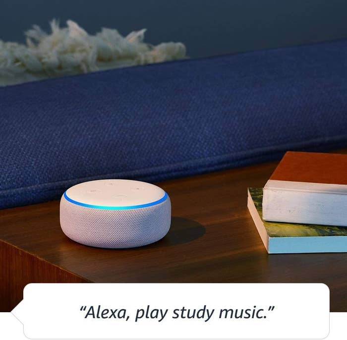 "small disc-like echo dot and a speech bubble saying ""alexa, play study music"""