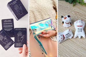 thumbnail of palm-reading cards, holographic fannypack, cat-shaped chopsticks holders