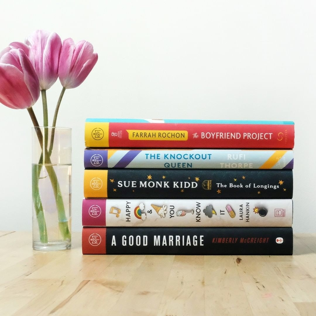 a stack of five books