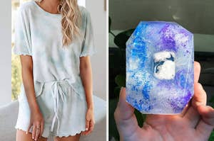 to the left: a light blue and white tie dye tshirt and shorts pajama set, to the right: a bar of soap with blue and purple swirls throughout it and a crystal stone in the middle