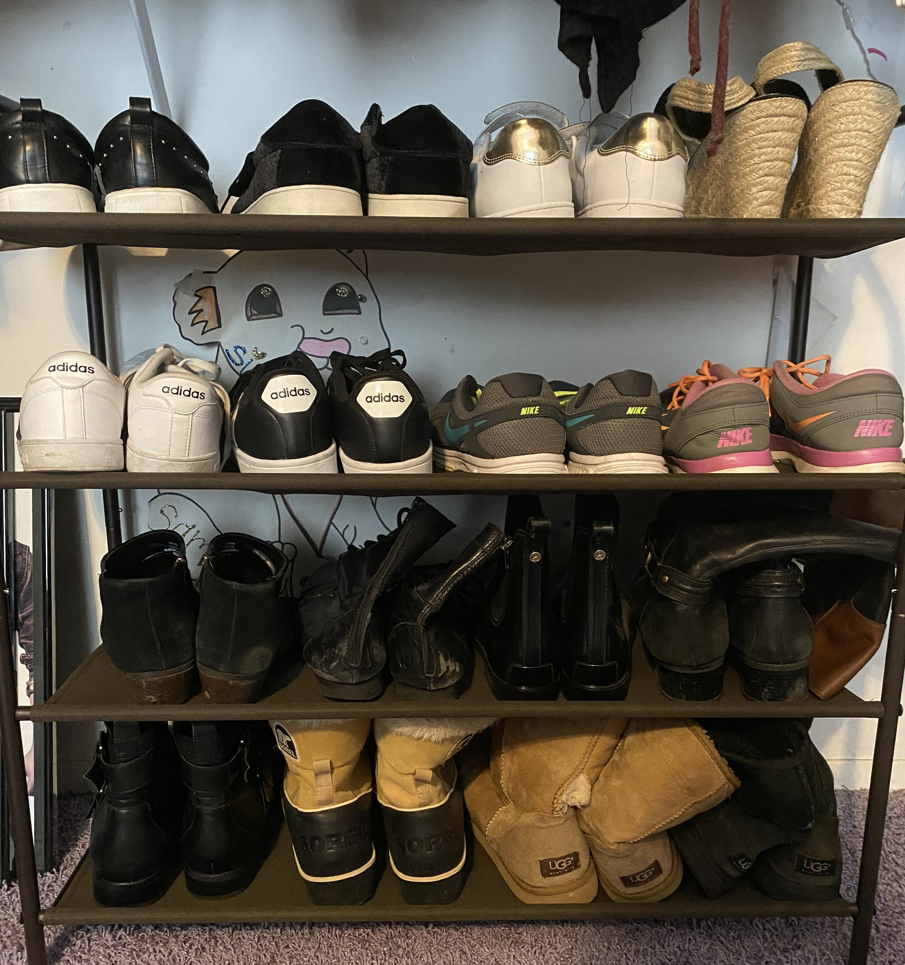 The shoe rack holding shoes