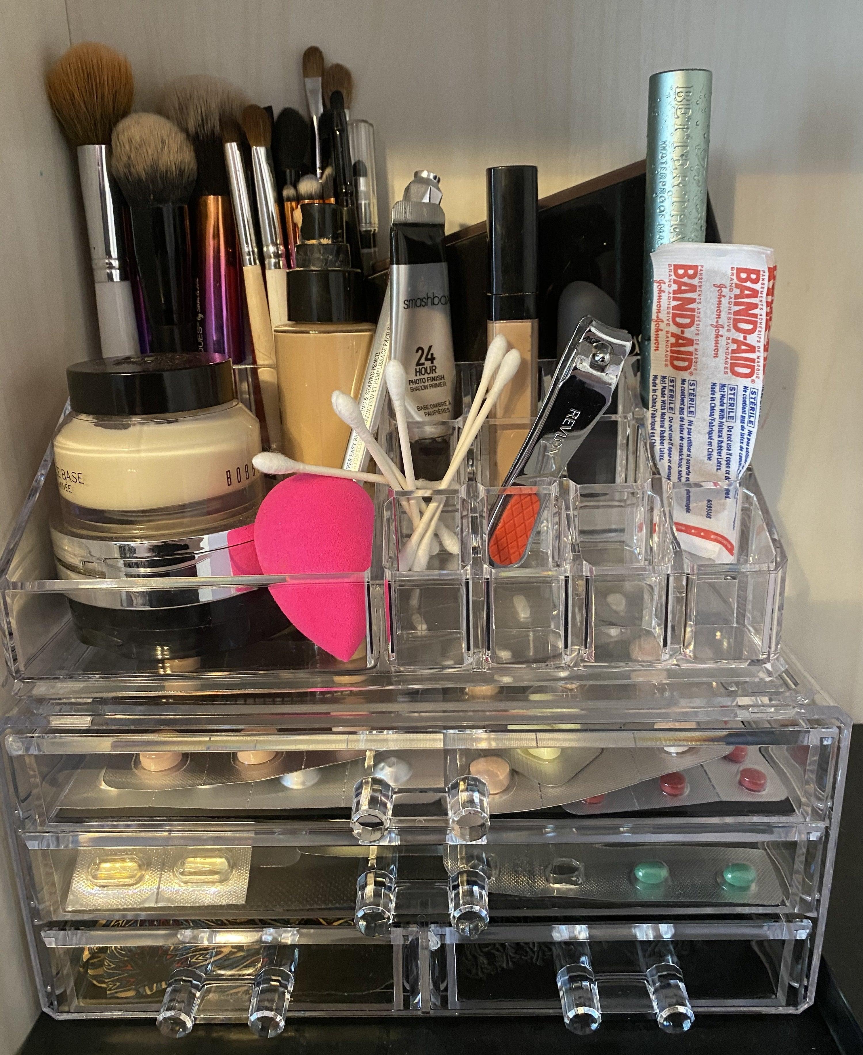 The makeup organizer holding various makeup products
