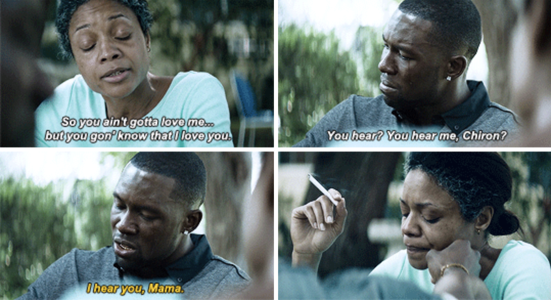 """Trevante's character talking to his onscreen mother outside in """"Moonlight"""""""