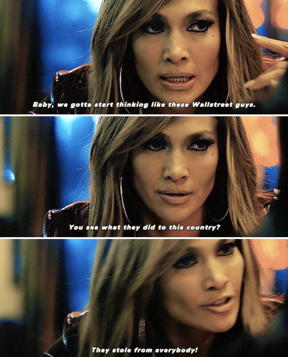 Jennifer Lopez's character talking in the strip club