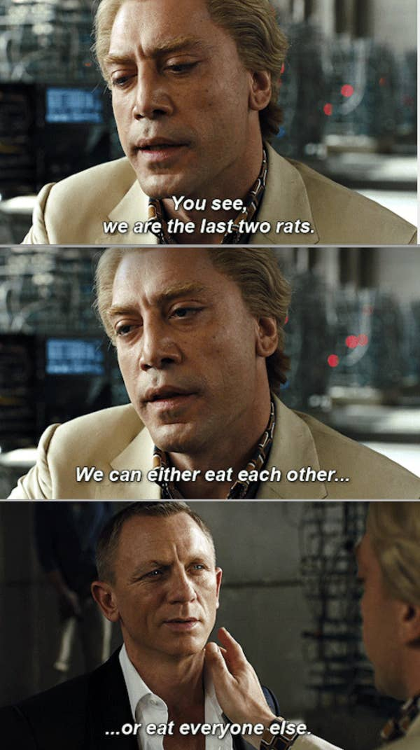 Bardem's character talking to a tied-up James Bond