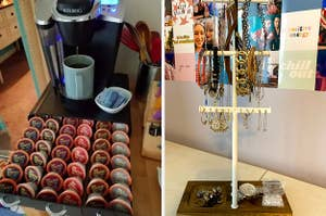 On the left, a coffee pod drawer, and on the right, a jewelry tree