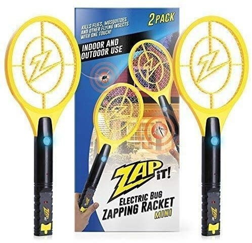 A shot of the electric fly swatter beside the product packaging