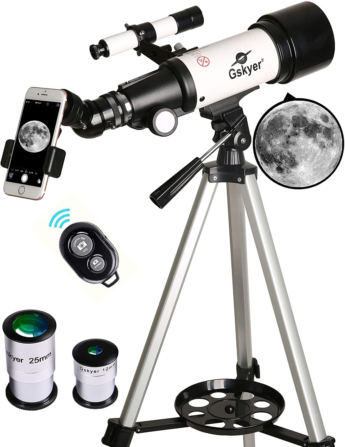 A product shot of the telescope showing the different sizes of lenses and a cell phone connected to the image through the telescope