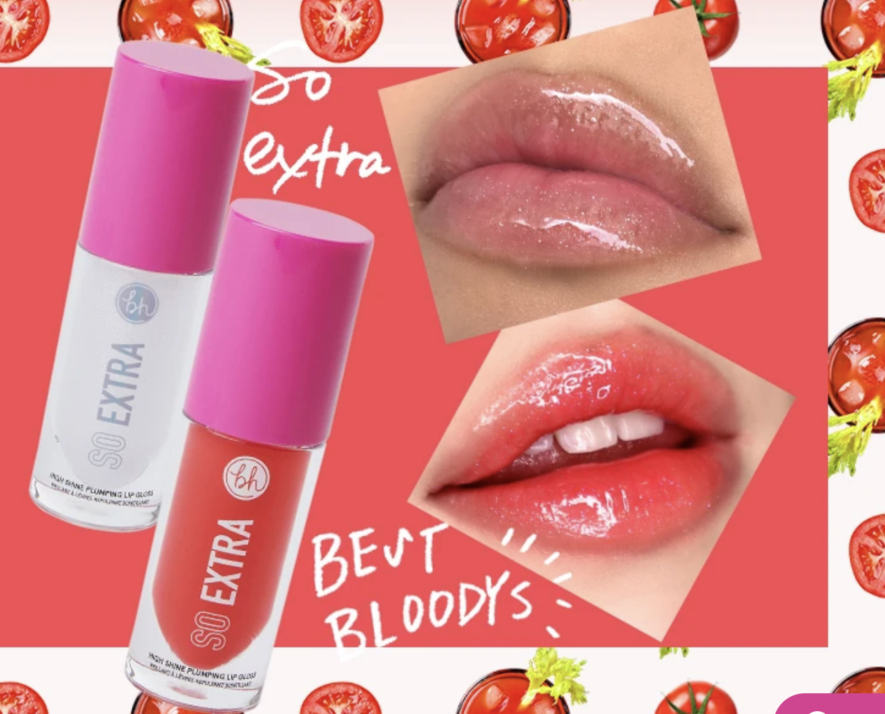 Two bottles of lip gloss, one clear and one an orangey-pink, next two models' lips showing the gloss shine when they're on