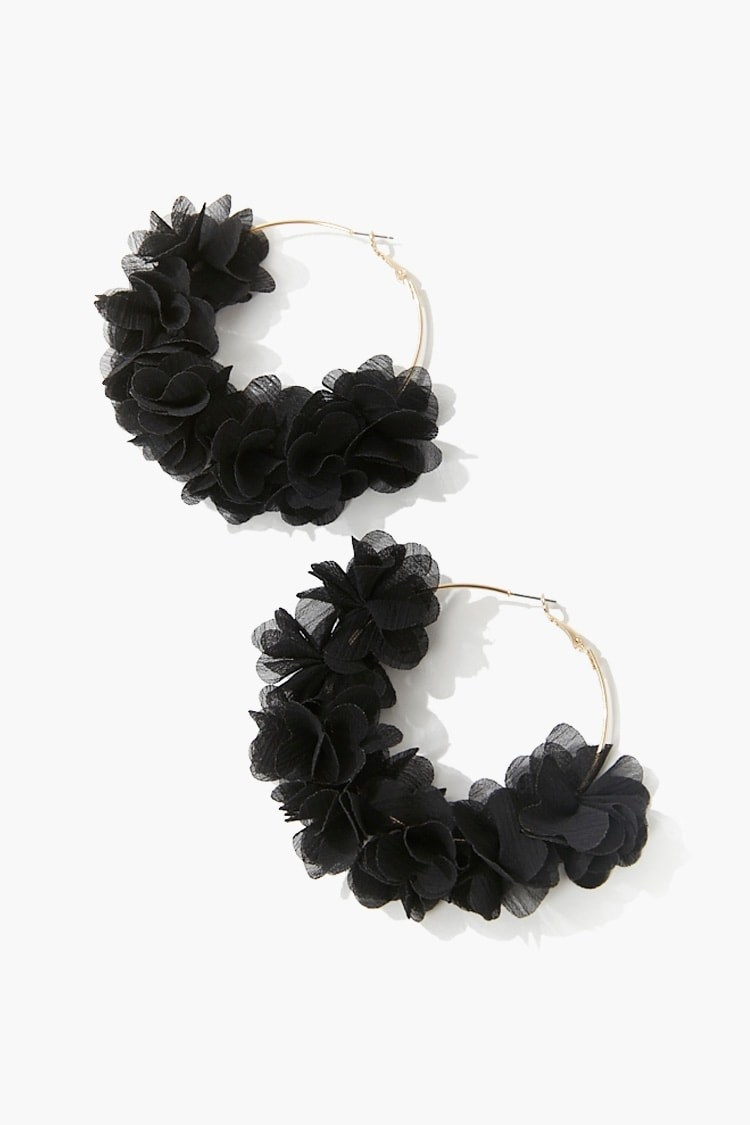 The earrings with black organza trim that look like flower petals