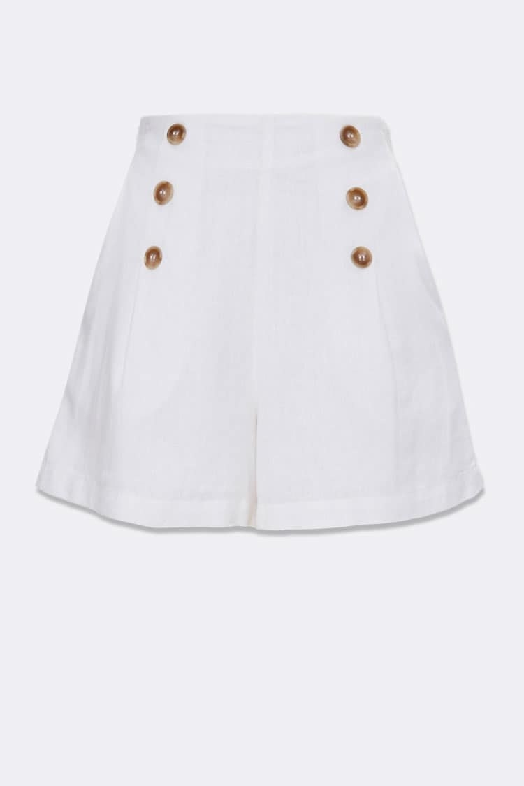 The shorts with three brown buttons down both sides in white