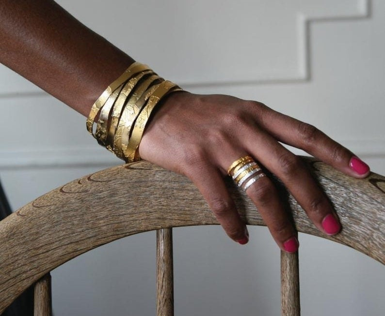 The stackable rings on hand