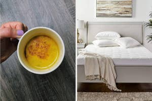 A turmeric-colored warm drink and a bed