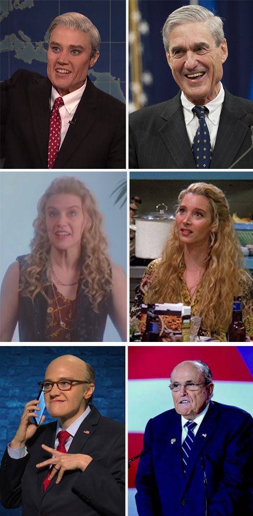 "A side by side of Kate's impressions and the people she played on ""SNL"""
