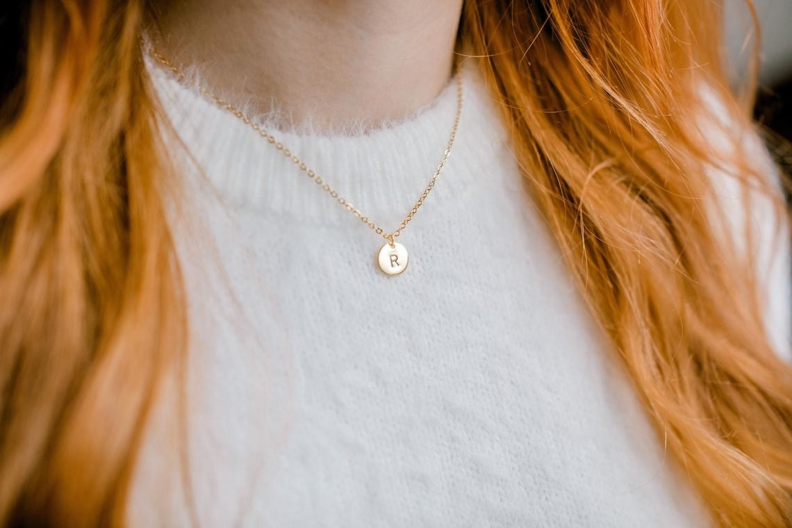 small circular necklace with initial
