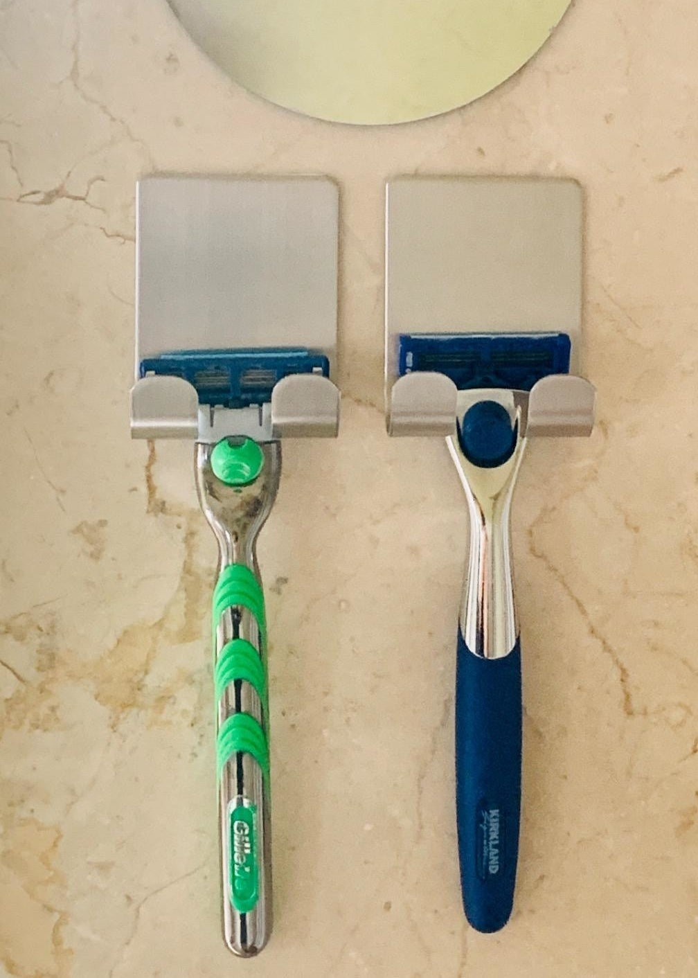A reviewer's razors in the holders