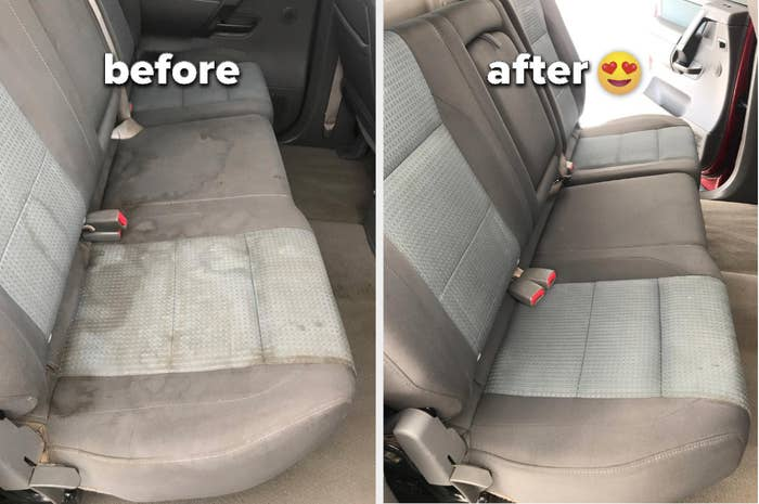 A before pic of a stained, grimy cloth car interior and and after pic of it without stains on it anymore