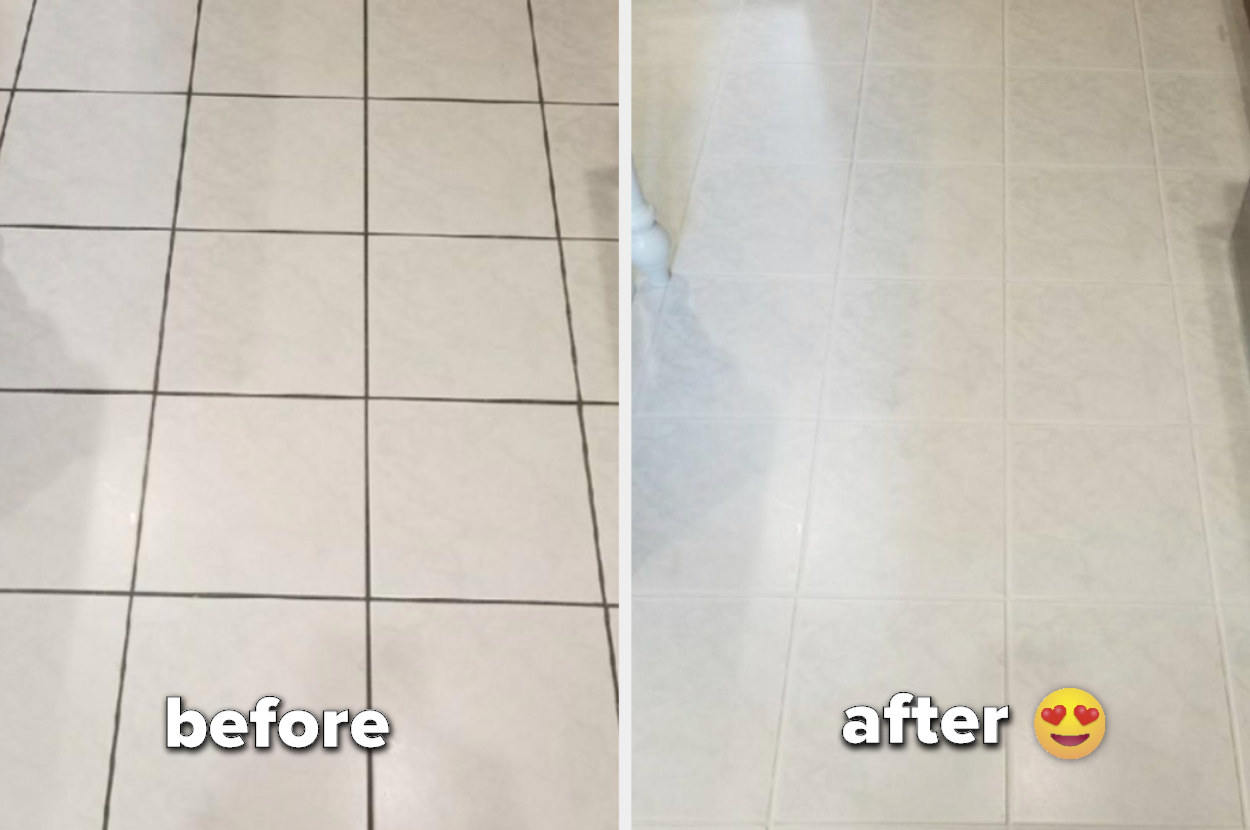 a before image of dark grouts on white tile and an after image of the grout restored to white
