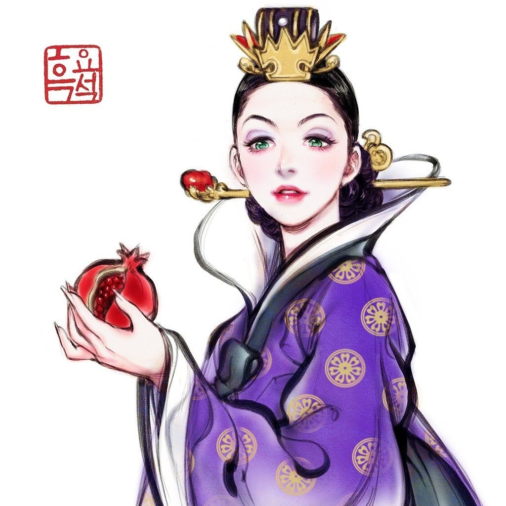 Disney's Evil Queen dressed in a purple hanbok holding a pomegranate.