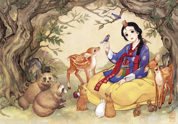 Disney's Snow White wearing a Korean hanbok surrounded by forest animals.