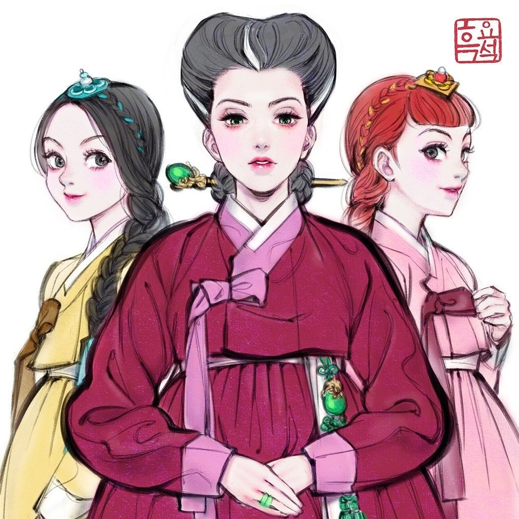 "Disney's Lady Tremaine and her daughters from ""Cinderella"" wearing hanbok"