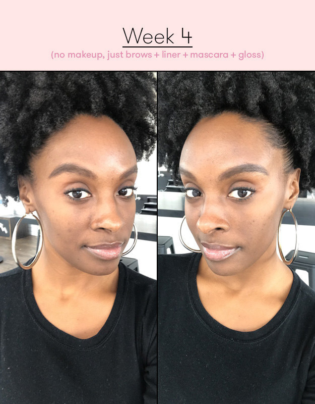 "side-by-side photos of BuzzFeed Editor Essence Gant labeled ""Week 4 (no makeup, just brows + liner + mascara + gloss)"""