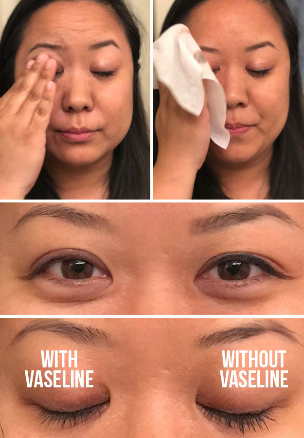 BuzzFeed writer Crystal Ro removing eye makeup with vaseline