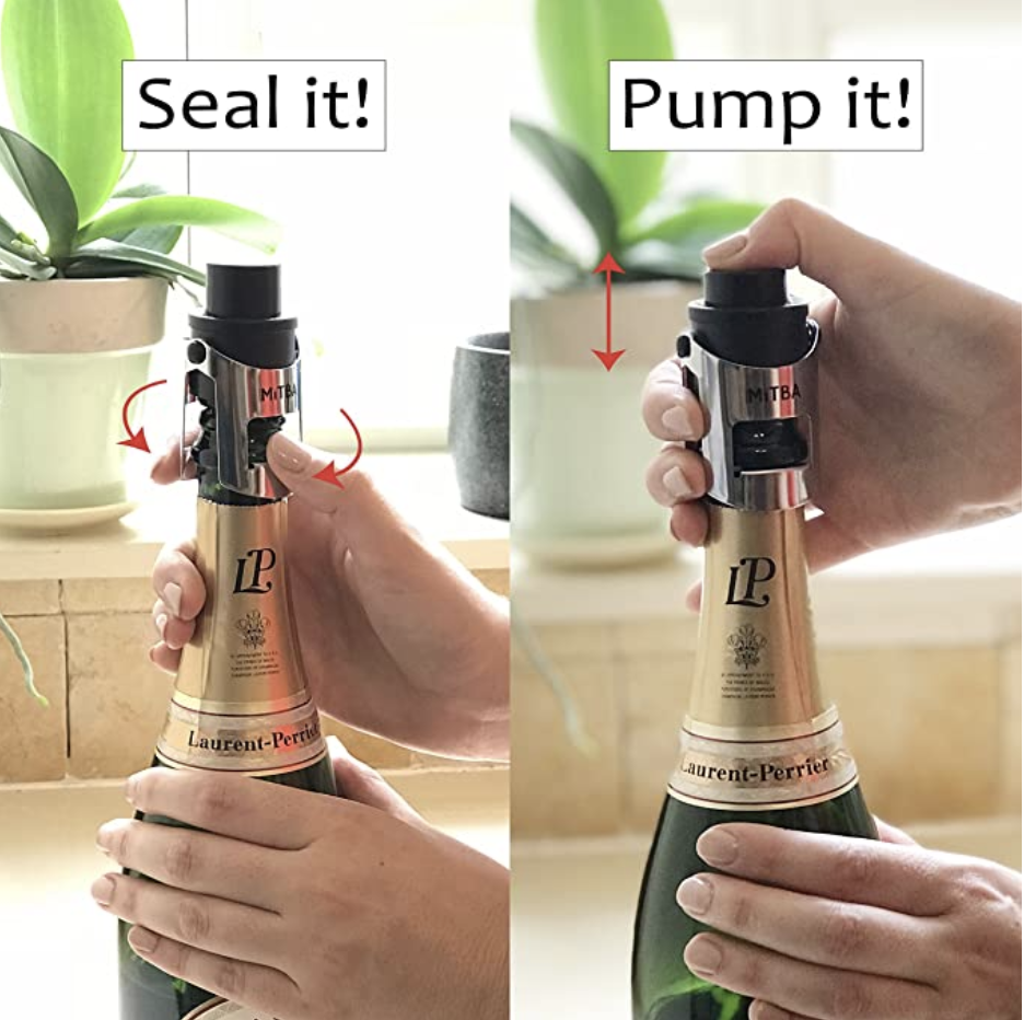 A model securing the stopper on a bottle