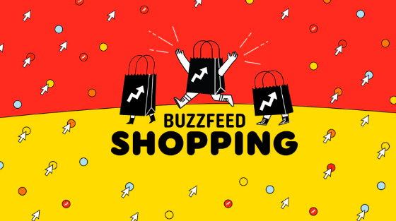 "An illustration of three shopping bags with legs running happily through a red and yellow background above a logo that says, ""BuzzFeed Shopping"""