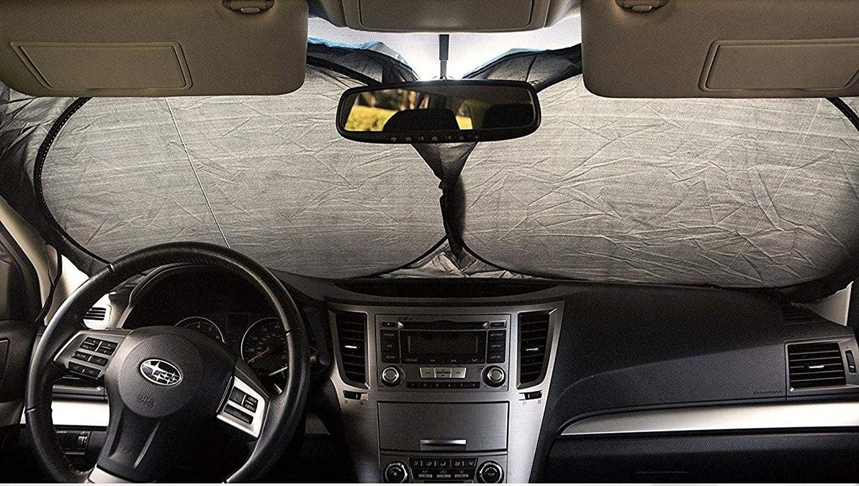 Light gray windshield sunshade