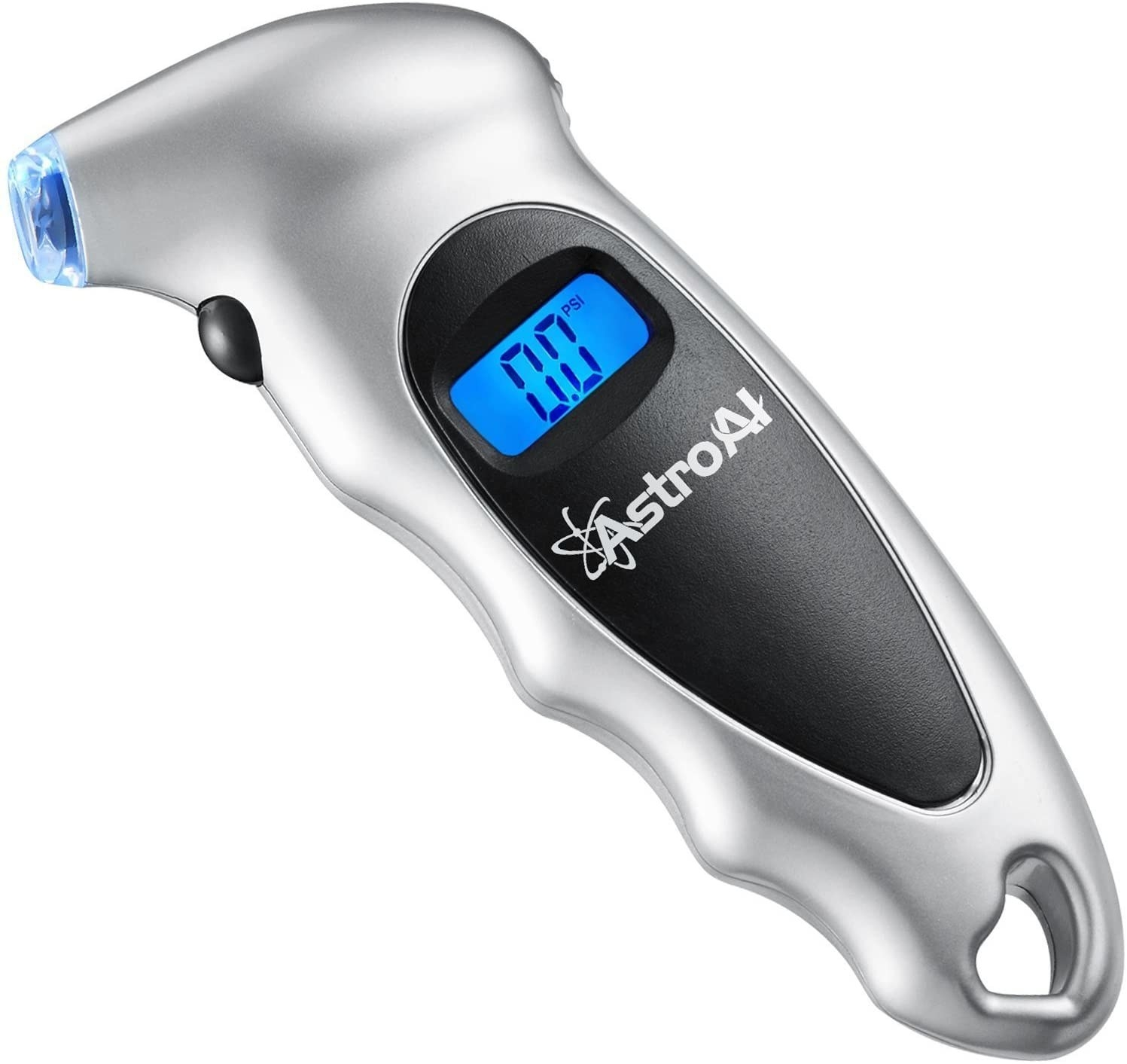 Silver and black tire pressure gauge with blue light-up screen