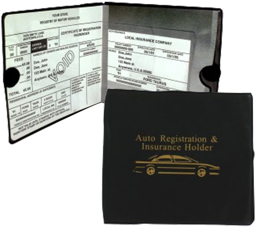 Black plastic document holder with car illsutration on front
