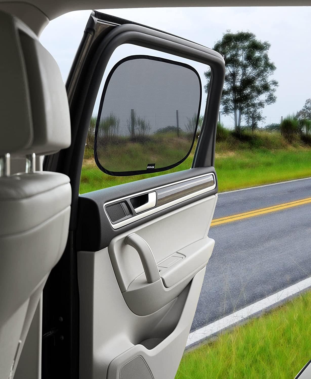 Black car window shade on rear side door