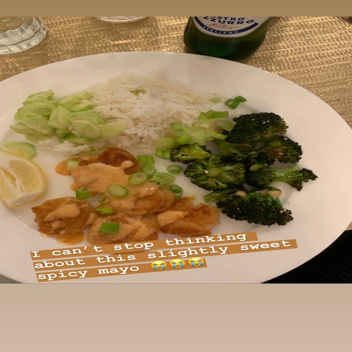 """A photo of the author's dinner with text """"I can't stop thinking about this slightly sweet spicy mayo"""""""