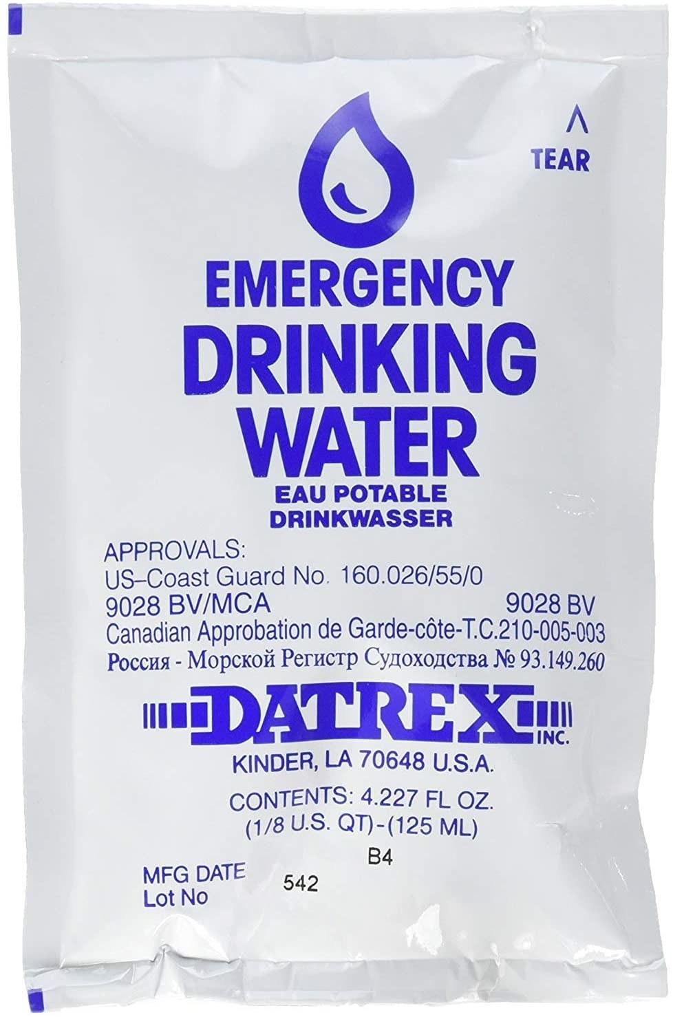 White packet of drinking water with blue lettering