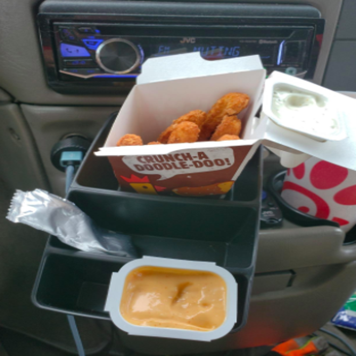 reviewer using the caddy to hold fries, dipping sauce