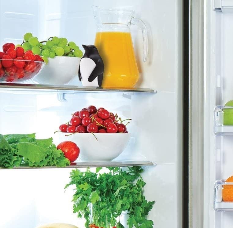 the penguin-shaped deodorizer on the top shelf of a fridge