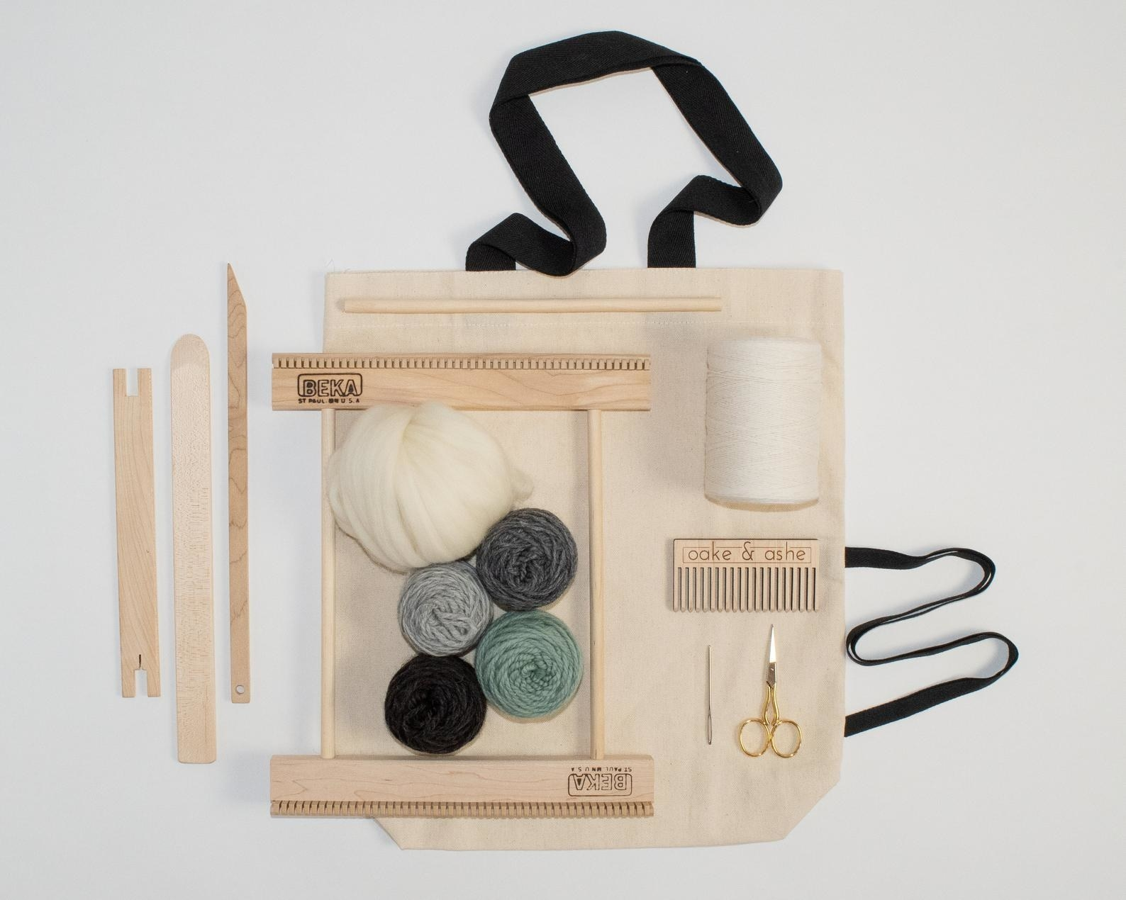 tote bag with everything needed to start weaving