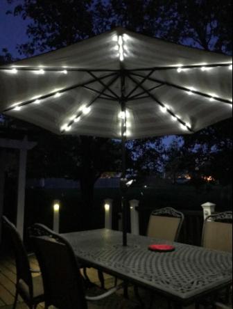 umbrella at night with lights underneath it