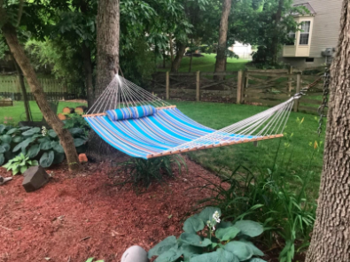 double hammock strung up between two trees in a yard