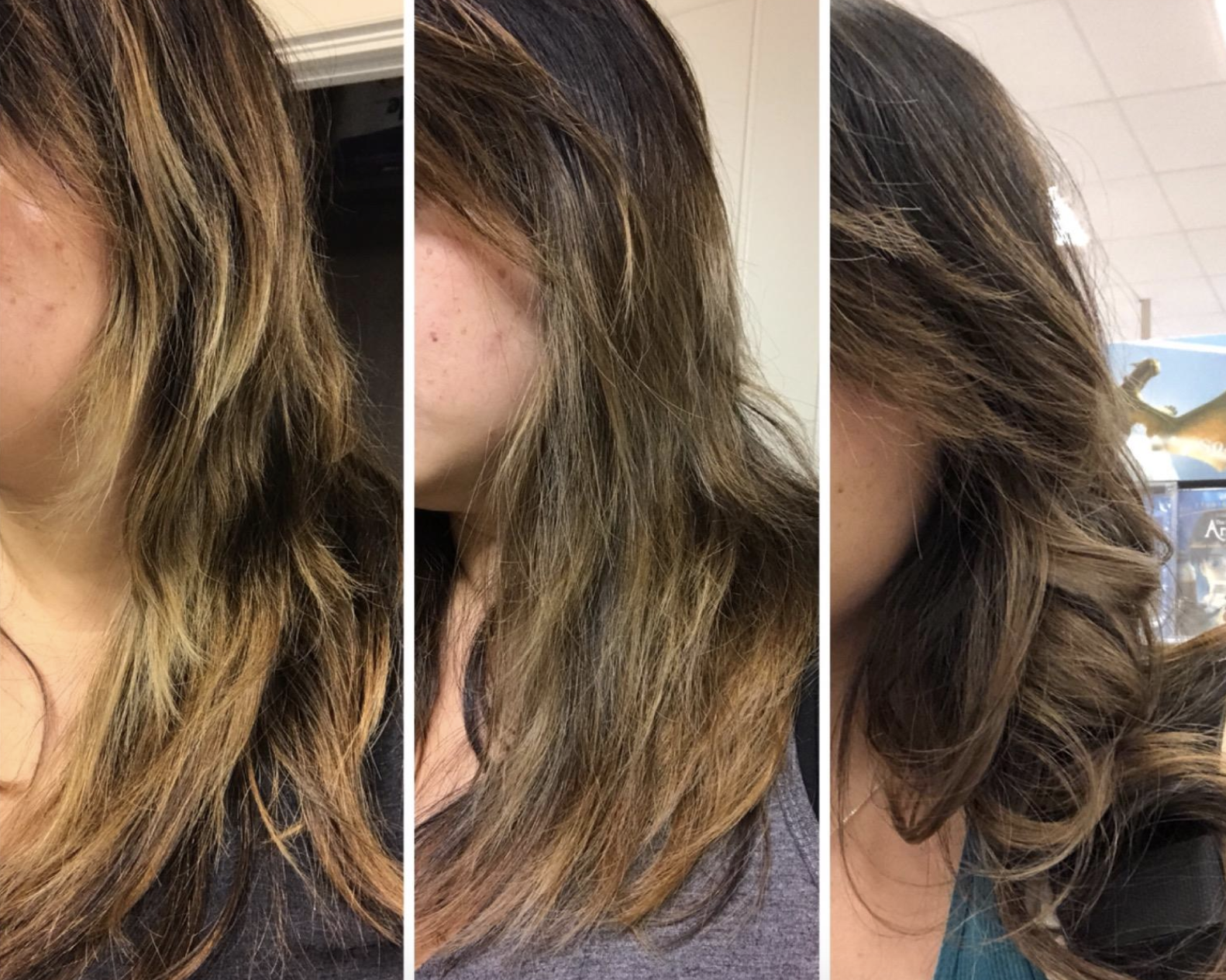 three photos of reviewer hair showing the loss of brassiness from left to right