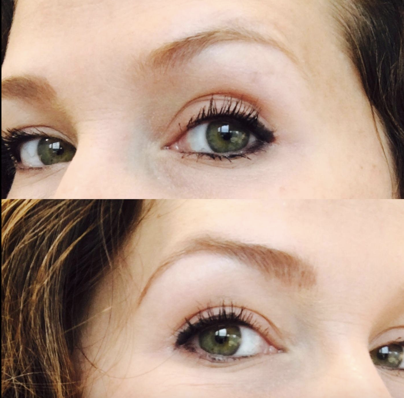 before-and-after photo of reviewer with sparse brows on top, and then fuller, more defined brows on the bottom