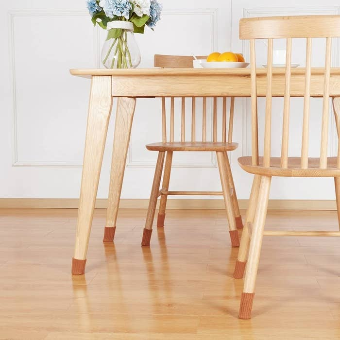 the brown furniture socks on wooden chairs and table
