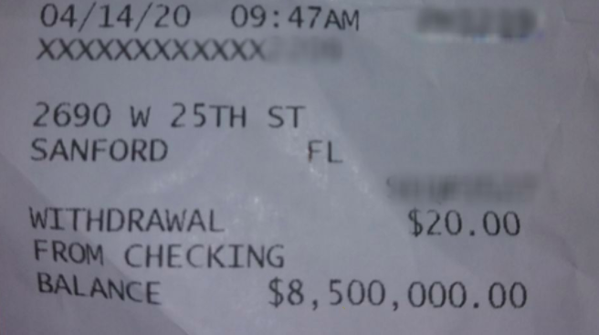 The receipt with 8 million dollars in her bank account