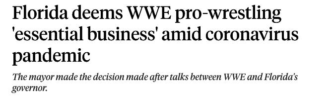 Florida deems WWE pro-wrestling 'essential business' amid coronavirus pandemic