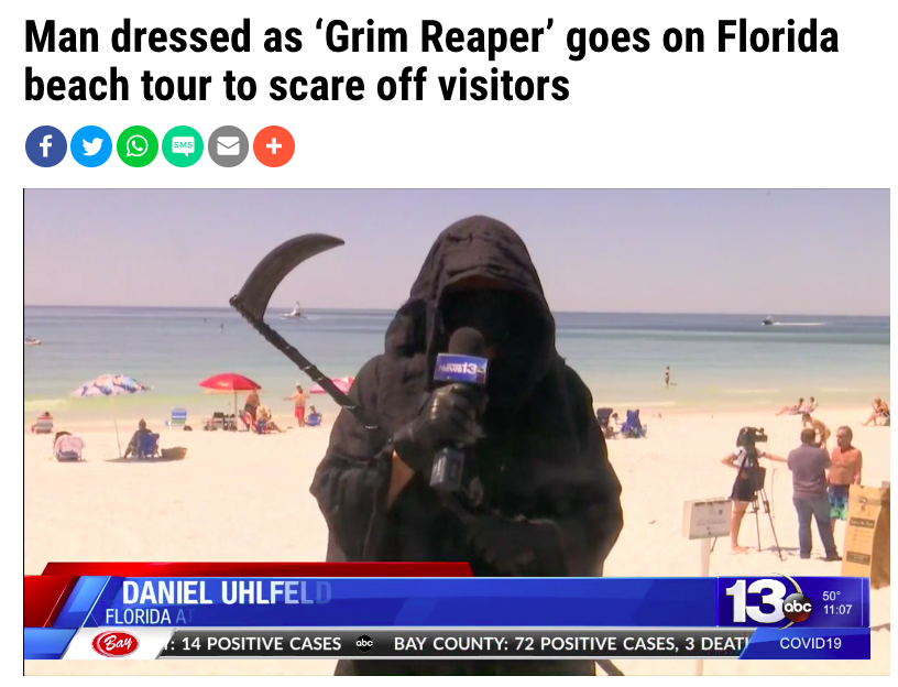 Man dressed as 'Grim Reaper' goes on Florida beach tour to scare off visitors